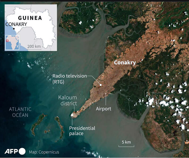 Satellite imagery of Conakry, capital city of Guinea-Conakr