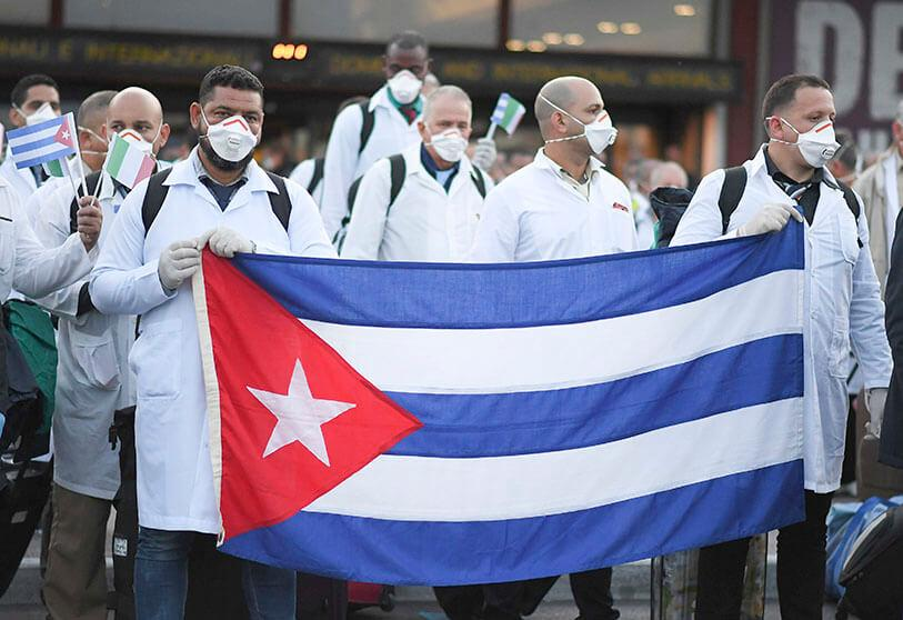 Emergency contingent of Cuban doctors and nurses arrives at Italy's Malpensa airport after traveling from Cuba to help Italy fight the spread of coronavirus disease