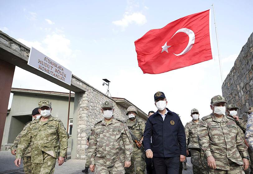 Turkish Defence Minister Hulusi Akar visits troops on the border with Iraq in Hakkari province, Turkey