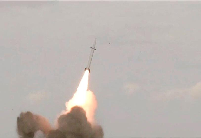 A picture taken from the images obtained from the state news agency Iran Press on 9 February 2020 shows the launch of the new Raad-500 missile