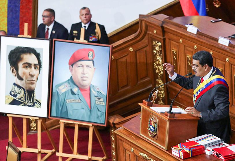 In this archival photo taken on January 14, 2020, Venezuelan President Nicolas Maduro delivers a speech at the Caracas Constituent Assembly