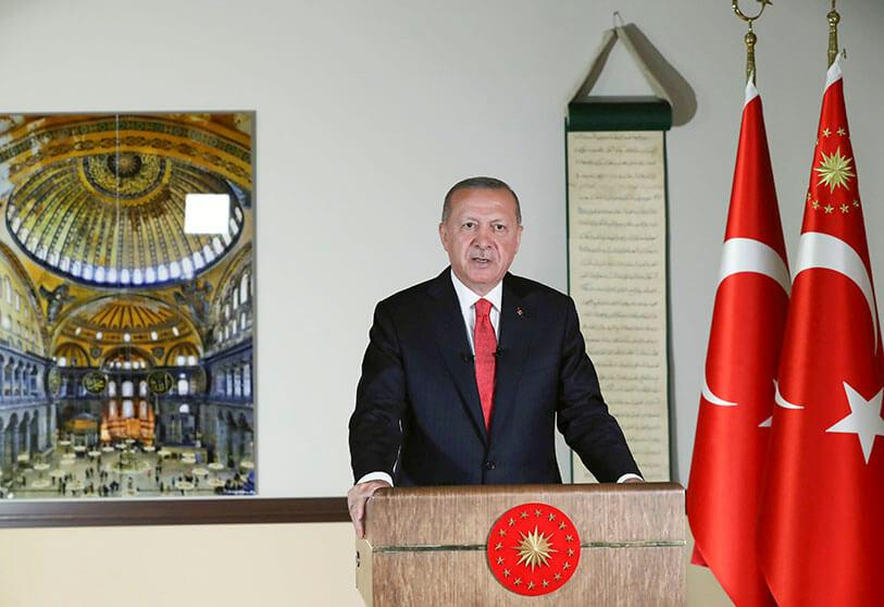 Turkish President Recep Tayyip Erdogan delivers a televised address to the nation in Ankara, Turkey, on 10 July 2020