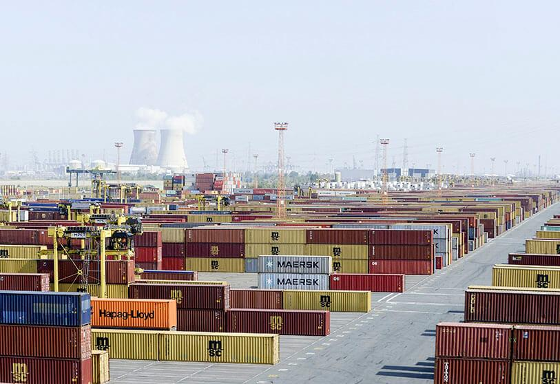 The containers are moved at the MSC PSA European Terminal (MPET), the largest container terminal in the port of Antwerp
