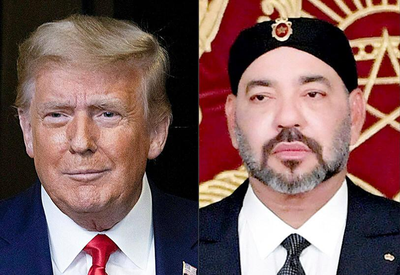 Combination of images of Donald Trump and King Mohammed VI of Morocco