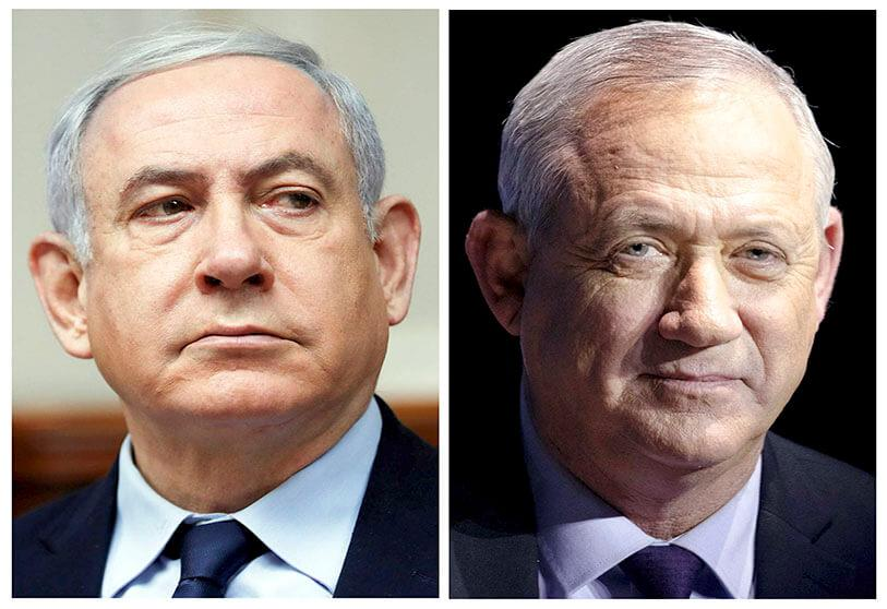 A combined photo shows Israeli Prime Minister Benjamin Netanyahu and Benny Gantz, leader of Blue and White