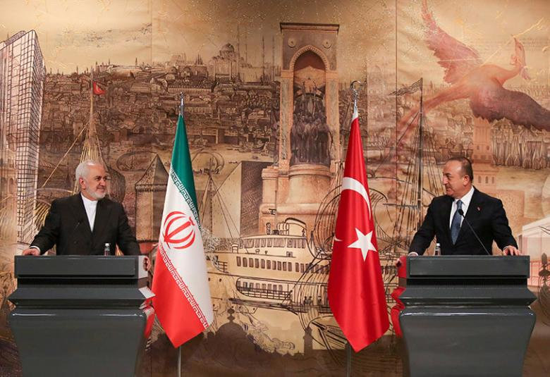 Iranian Foreign Minister Javad Zarif at a press conference with his Turkish counterpart Mevlut Cavusoglu in Istanbul, Turkey, 29 January 2021