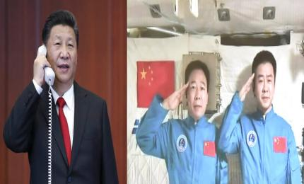 China, ousted by the United States from being among the nations that have built the International Space Station, is to assemble its own permanent orbital complex. The image captures President Xi Jinping's call to astronauts Jing Haipeng and Chen Dong, who were aboard the Tiangong-2 space laboratory in November 2016.
