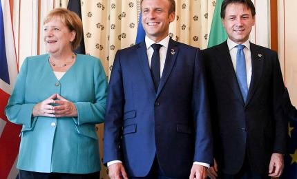 French President Emmanuel Macron, German Chancellor Angela Merkel and Italian Prime Minister Giuseppe Conte at the G7 Summit in Biarritz, France on 24 August 2019