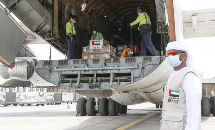 Emirates sent a relief plane with 10.5 metric tons of medical supplies to Iraq