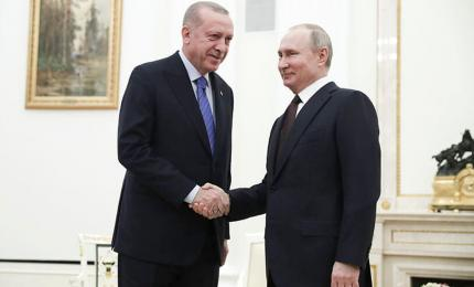 Russian President Vladimir Putin and Turkish President Recep Tayyip Erdogan in Moscow, Russia, March 5, 2020