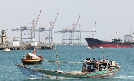 A fishing boat entering the port of the southern city of Aden on the Red Sea