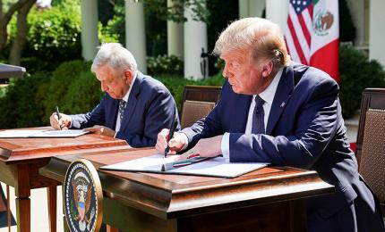 U.S. President Donald Trump and Mexican President Andrés Manuel López Obrador sign joint statement at the White House Rose Garden in Washington, U.S., July 8, 2020