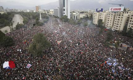 Photograph of a citizen's rally in Chile