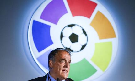 Javier Tebas, president of LaLiga, speaks during a promotional event