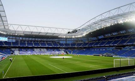 Real Sociedad vs Real Madrid CF. General view of the interior of the Reale Arena de Anoeta stadium before the match, in the resumption of the league tournament behind closed doors after the outbreak of the COVID-19 disease