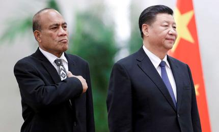 China's President Xi Jinping and Kiribati's President Taneti Maamau attend a welcoming ceremony at the Great Hall of the People in Beijing, China January 6, 2020