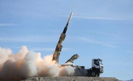 Sayad missile fired from Talash missile system during air defense drill at undisclosed location in Iran
