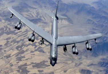 A US B-52H Stratofortress flies over Afghanistan during an air support mission