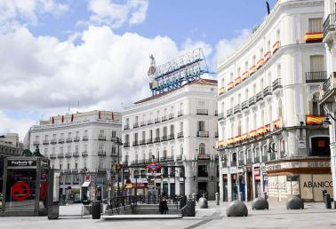 View taken of the empty square of Madrid's Puerta del Sol on 1 April 2020